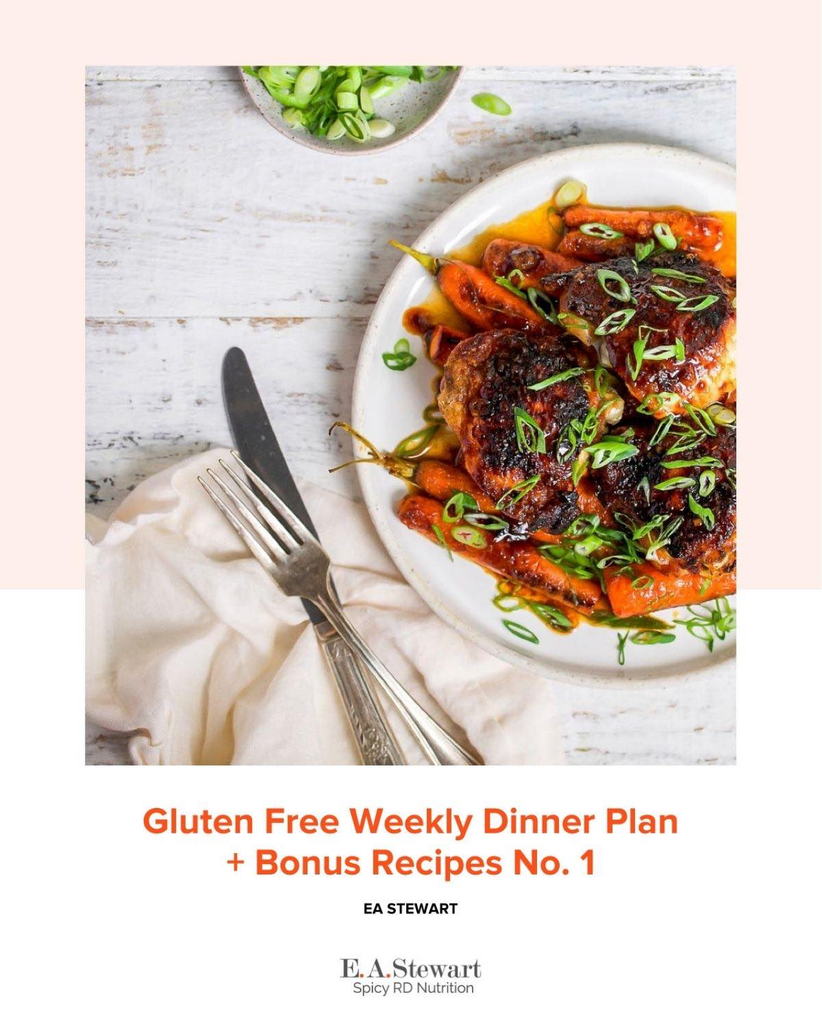 Gluten free Healthy Meal Plan with Grocery List  Cover Image is a plate of chicken with carrots.