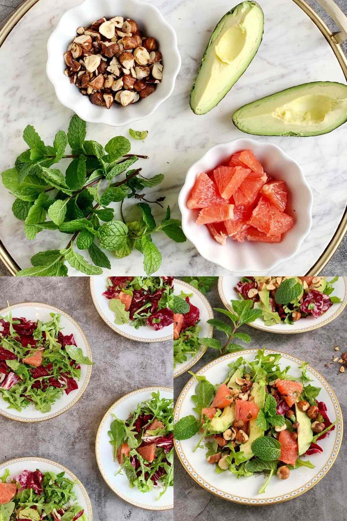 Photo collage with 3 photos showing how to assemble a salad with avocado, mint, hazelnuts, and honey mint dressing.