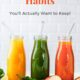 3 bottles of juice: red, green, and pink + text overlay-5 Healthy New Year Lifestyle Habits