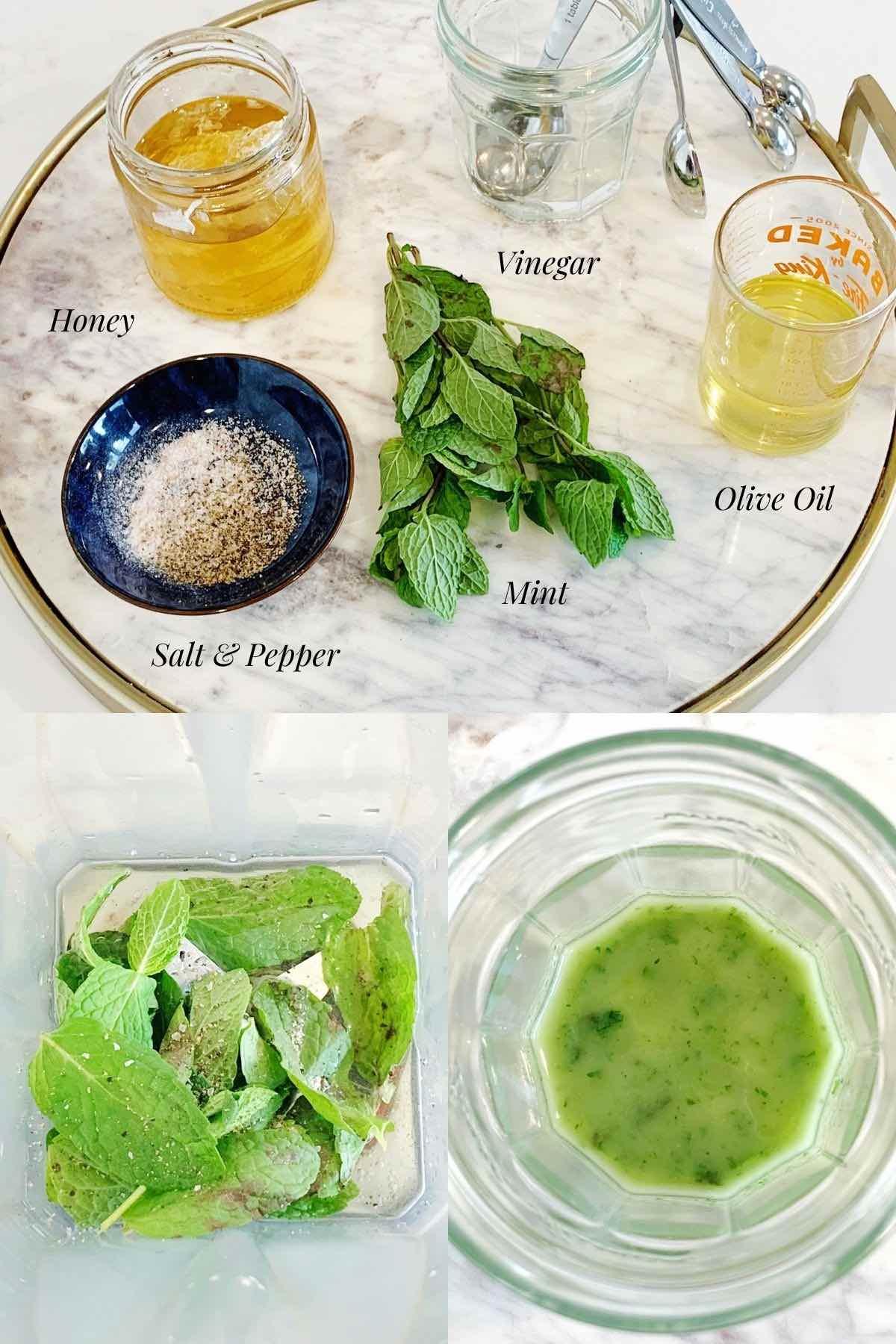 Ingredients to make honey mint dressing.
