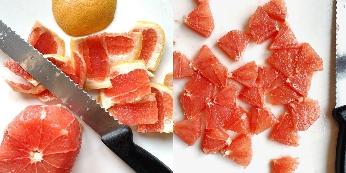 Side by side images showing how to cut a whole grapefruit into segments.