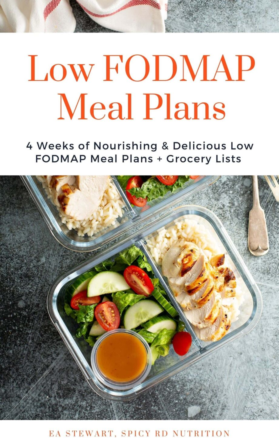 Low FODMAP Meal Plans cover page with glass container of food.