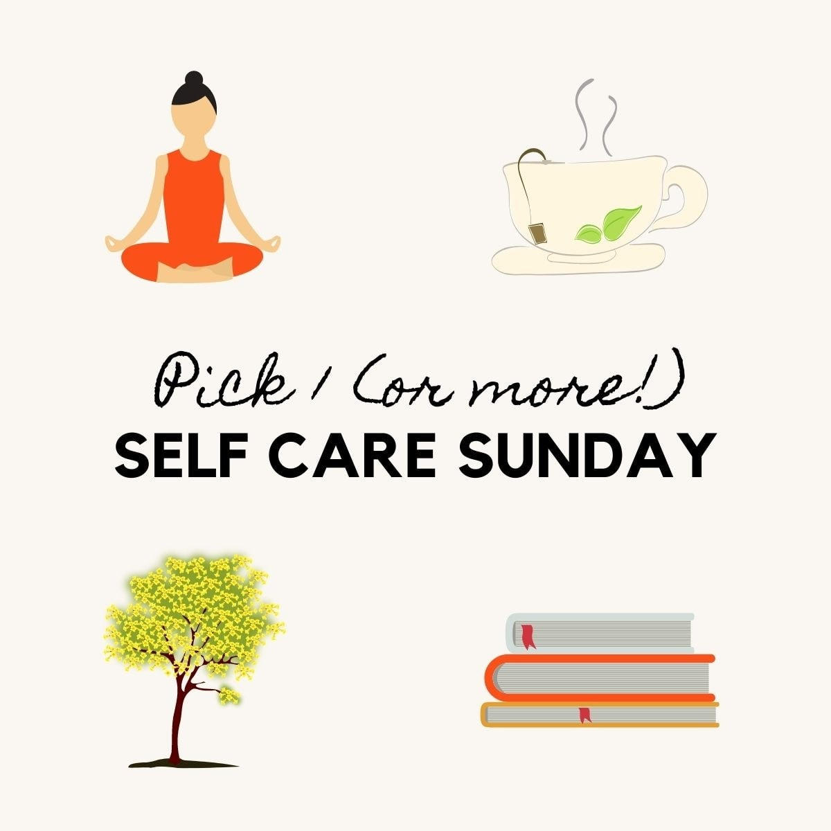 Healthy new year illustrations with a woman doing yoga, a cup of tea, a tree, and a pile of books for self care.
