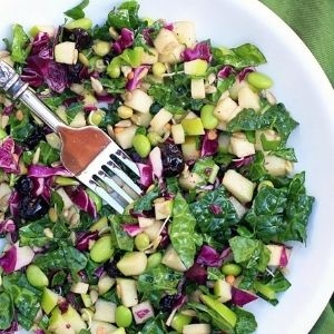 Colorful salad in a white bowl with kale, red cabbage, edamame, apples, and dried blueberries.