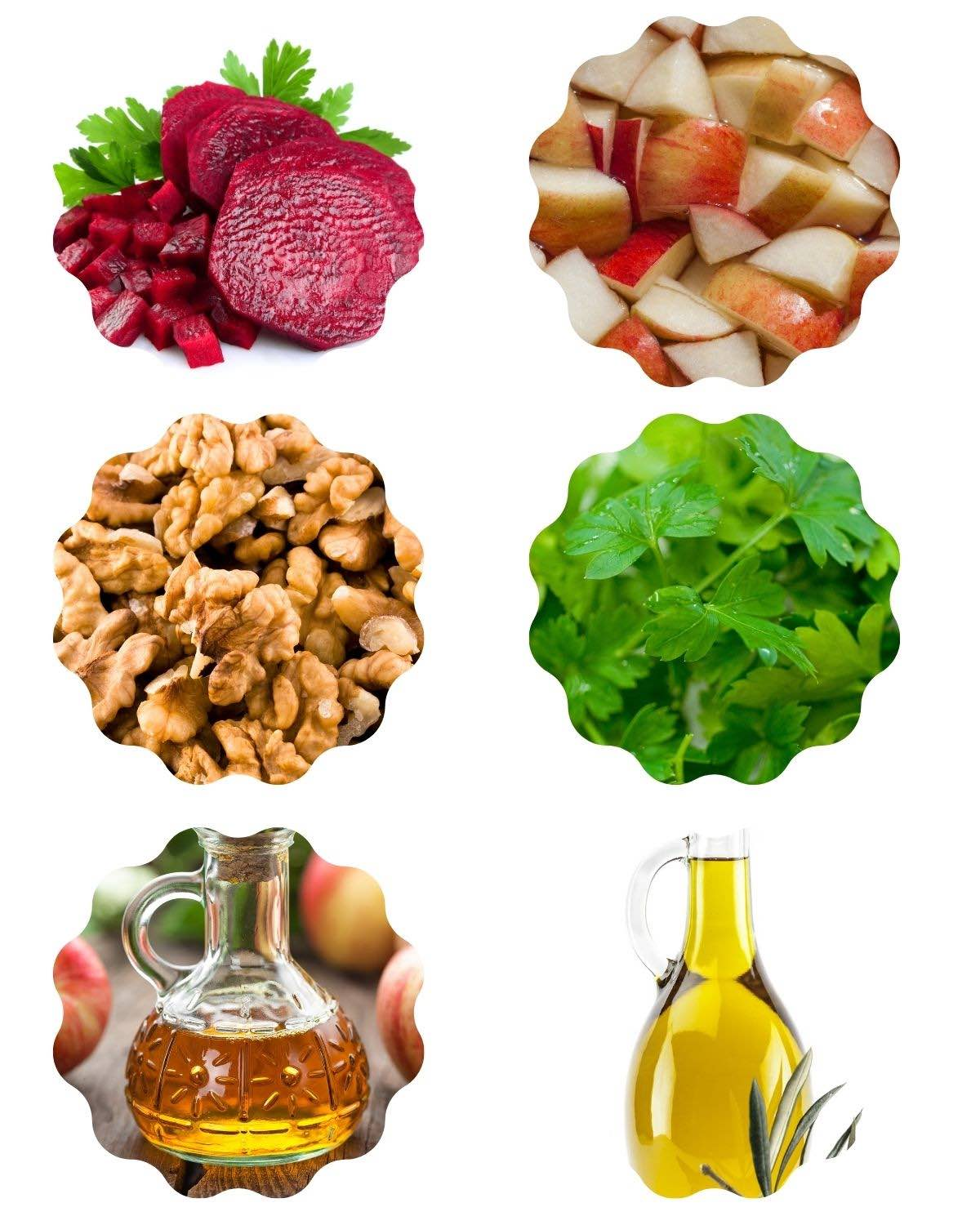 6 images with ingredients for a beet apple walnut salad: beets, apple, walnuts, parsley, oil, vinegar.