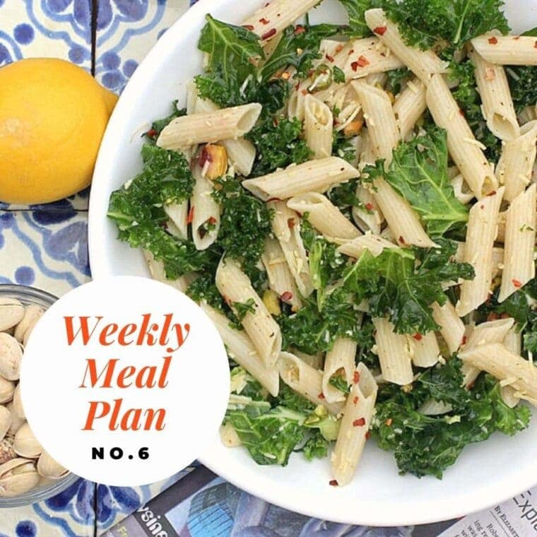 Kale lemon pasta salad on a white plate with text overlay-weekly meal plan no. 6.