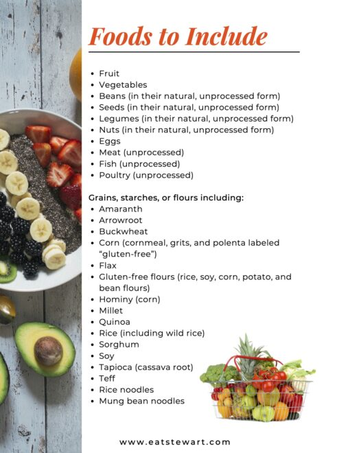 Photo of a smoothie bowl and text list foods to include on a gluten free diet.