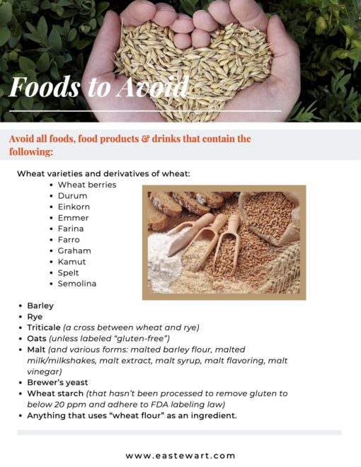 Image featuring photo of gluten free grains and text overlay: foods to avoid on a gluten free diet.