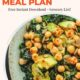 Photo of kale avocado chickpea salad in a circle cutout with text-Healthy Weekly Gluten Free Meal Plan