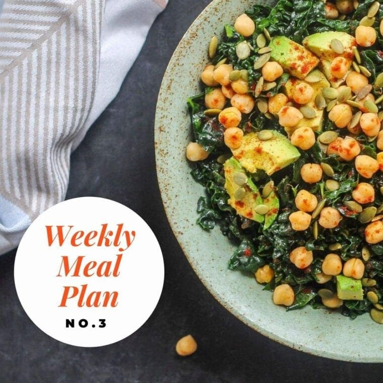 Photo of kale chickpea avocado salad and text overlay-weekly meal plan no 3