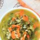 Pinterest image with a bowl of soup and text overlay-healthy weekly meal plan no 5.