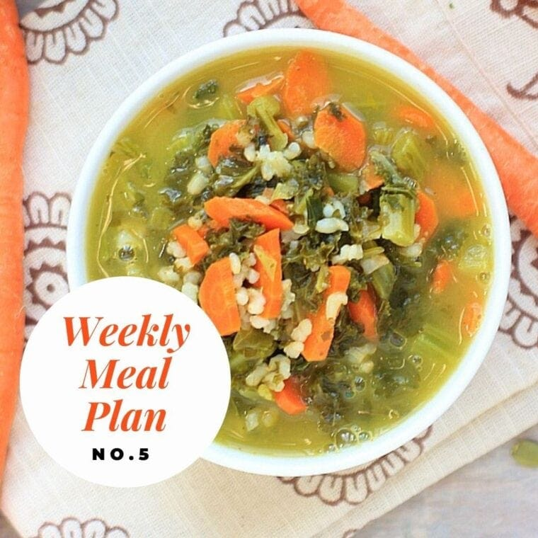 Overhead photo of a bowl of kale basmati pesto soup with text overlay-weekly meal plan no 5.