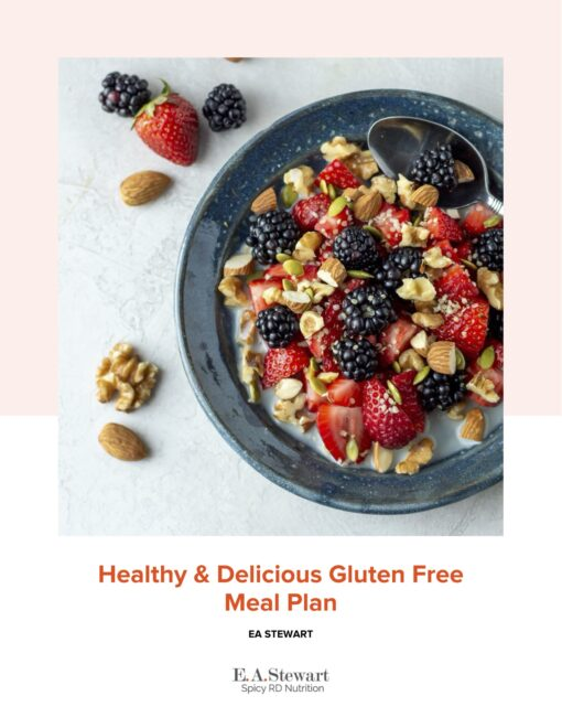 Healthy Delicious Gluten Free Meal Plan Cookbook Cover with an image of a bowl of berries and nuts.