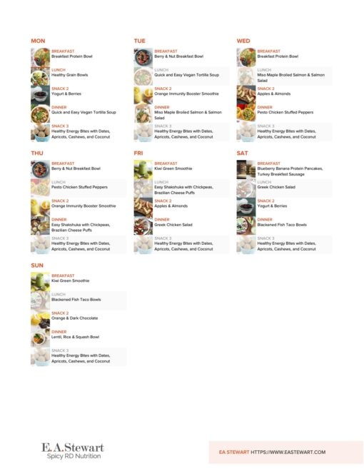 Gluten Free Meal Plan with photos of all the recipes included.