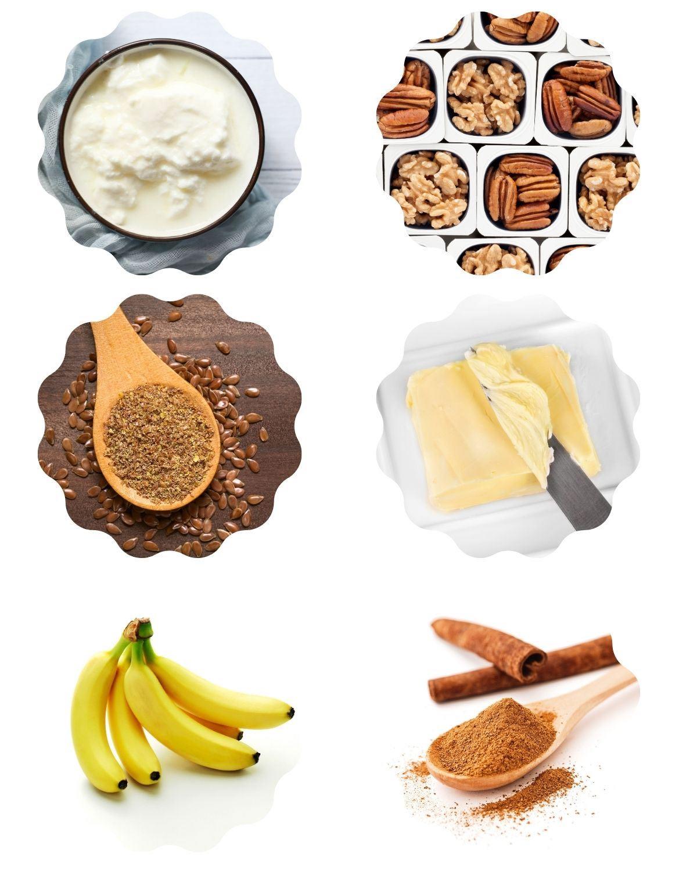 Ingredients for Greek Yogurt parfait, including Greek yogurt, nuts, flaxseed meal, vegan butter, bananas, and cinnamon.
