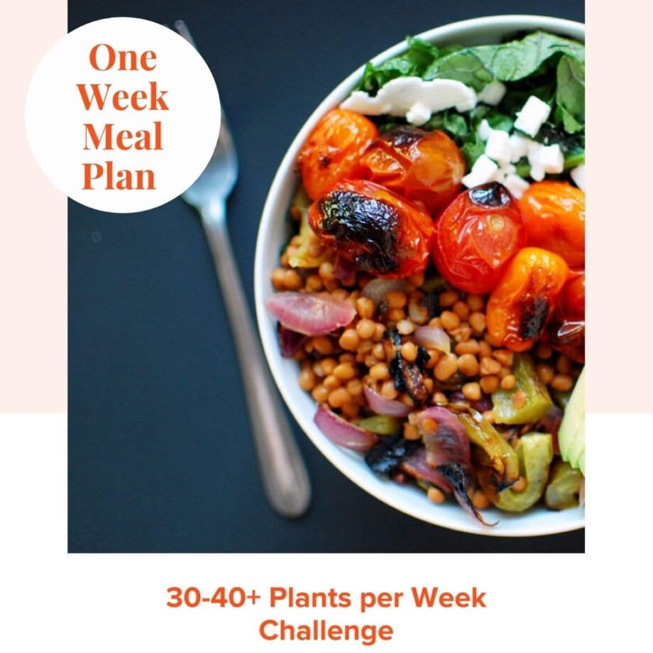 Meal plan cover with a picture of a grain and vegetable bowl.