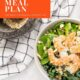 Shrimp Kale Quinoa Salad photo in a white bowl with text overlay-Healthy Weekly Meal Plan.