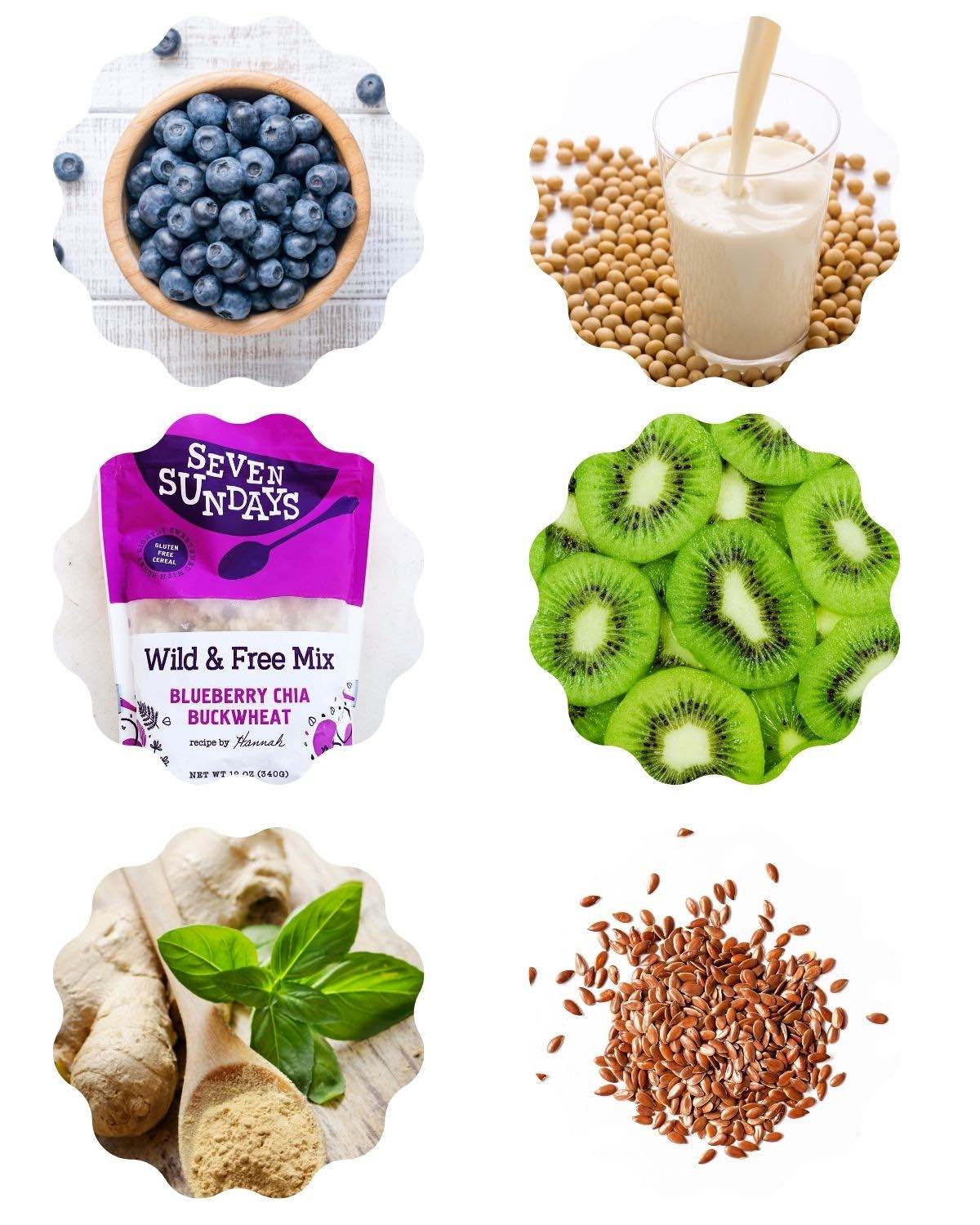 Graphic with 6 photos of ingredients including blueberries, soy milk, muesli, kiwi fruit, ginger, and flaxseeds.