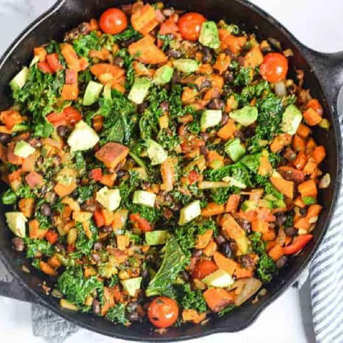 Plant-Based Recipe Ideas featuring a photo of vegan sweet potato and veggie hash in a skillet.
