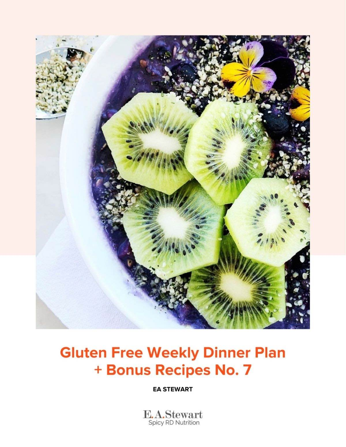 Weekly meal plan no 7 cover page with image of blueberry smoothie bowl.