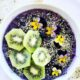 Weekly Meal Plan No 7 Pinterest image with a blueberry kiwin smoothie bowl photo.