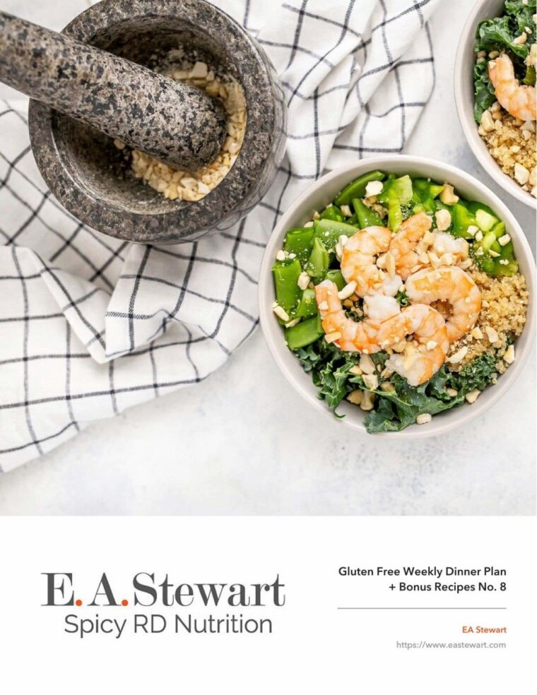 Meal plan cover plage featuring an overhead image of shrimp kale and quinoa salad with a mortar and pestle in the photo background.