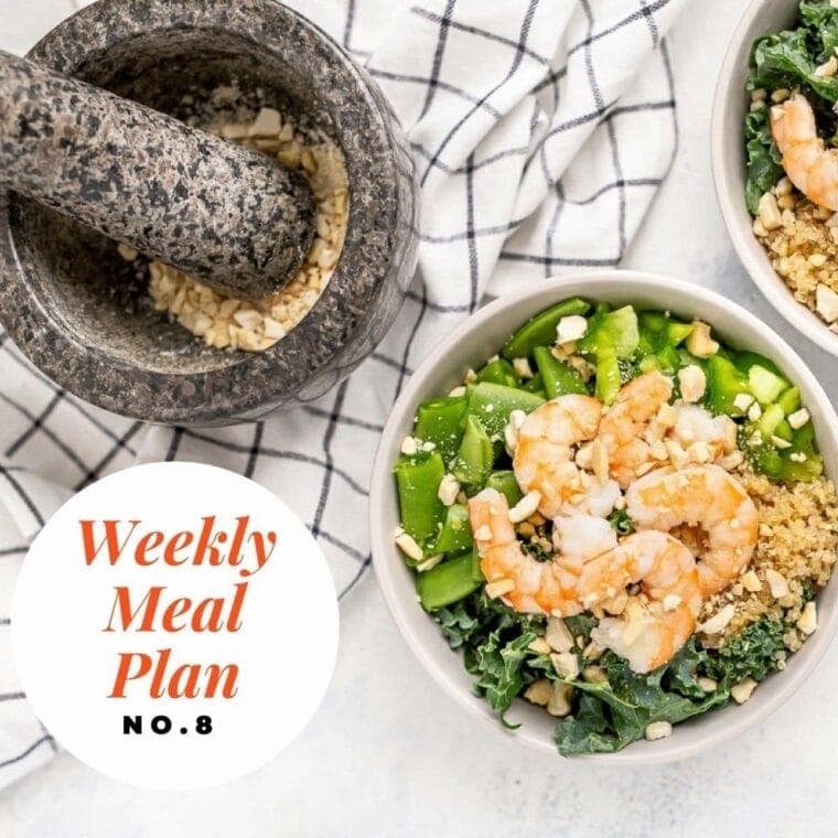 Overhead image of a shrimp kale and quinoa salad with text overlay-Weekly meal plan no 8.