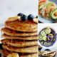 Collage with 4 photos of plant-based breakfast ideas.