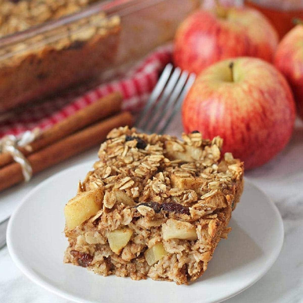 Plant-Based Breakfast Ideas photo of a plate of Apple Cinnamon Baked Oatmeal.
