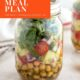 Greek Salad in a mason jar with text overlay: Healthy Weekly Meal Plan No. 9.