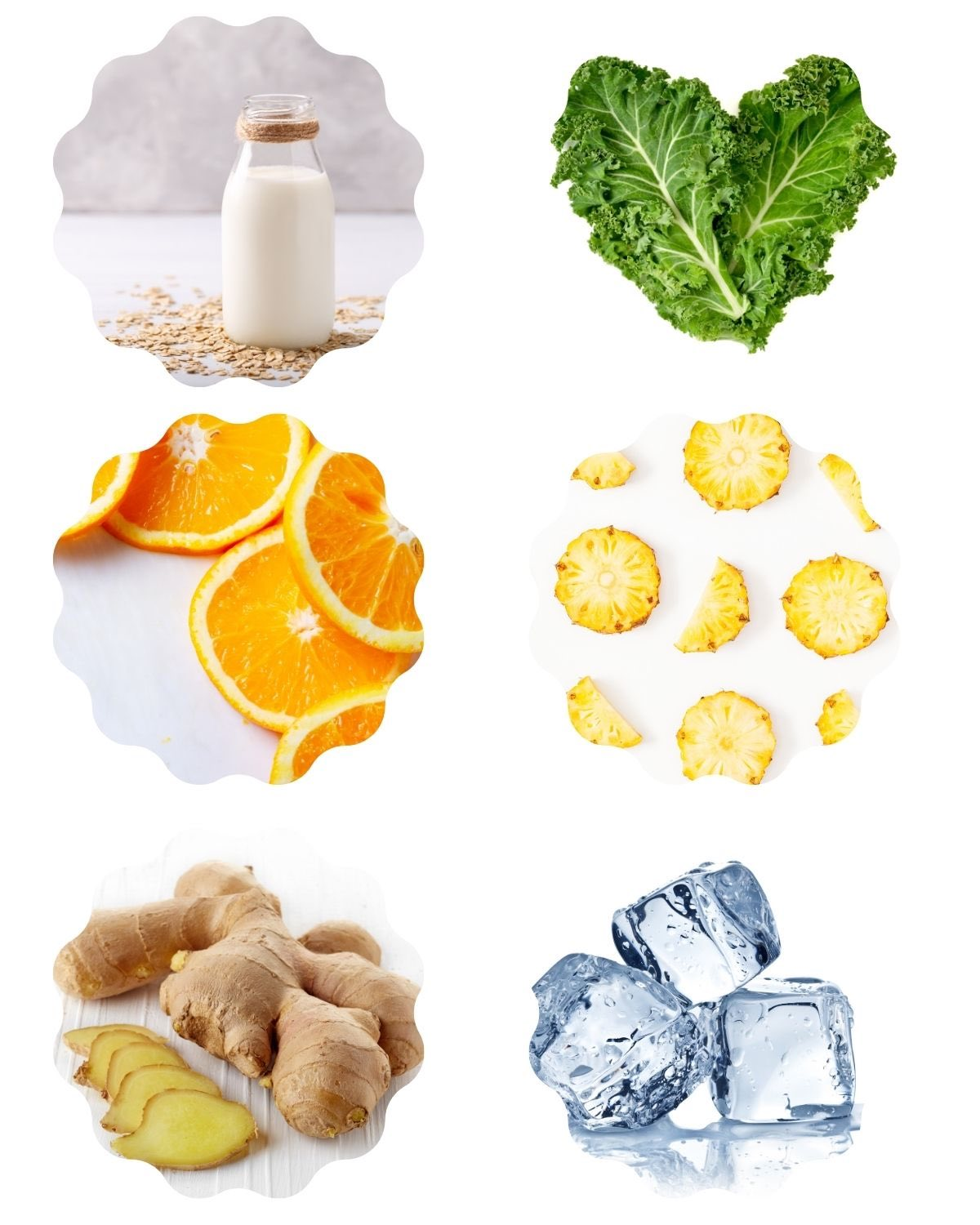 Photo with low FODMAP smoothie ingredients including kale, orange, pineapple, milk, ginger, and ice.