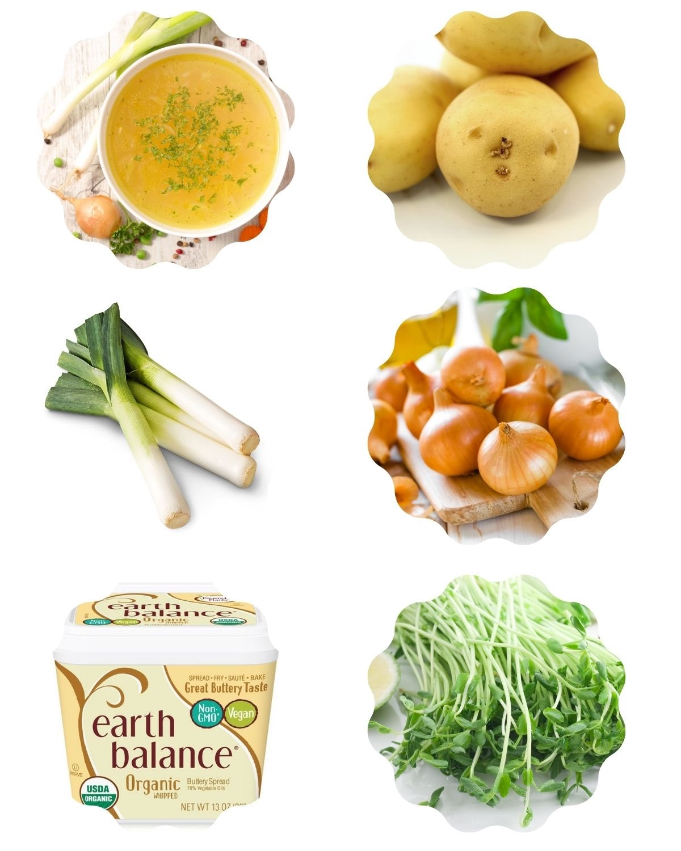 Image featuring 6 ingredients (vegetable broth, potatoes, leeks, onion, vegan butter, pea shoots) to make vegan leek and potato soup.