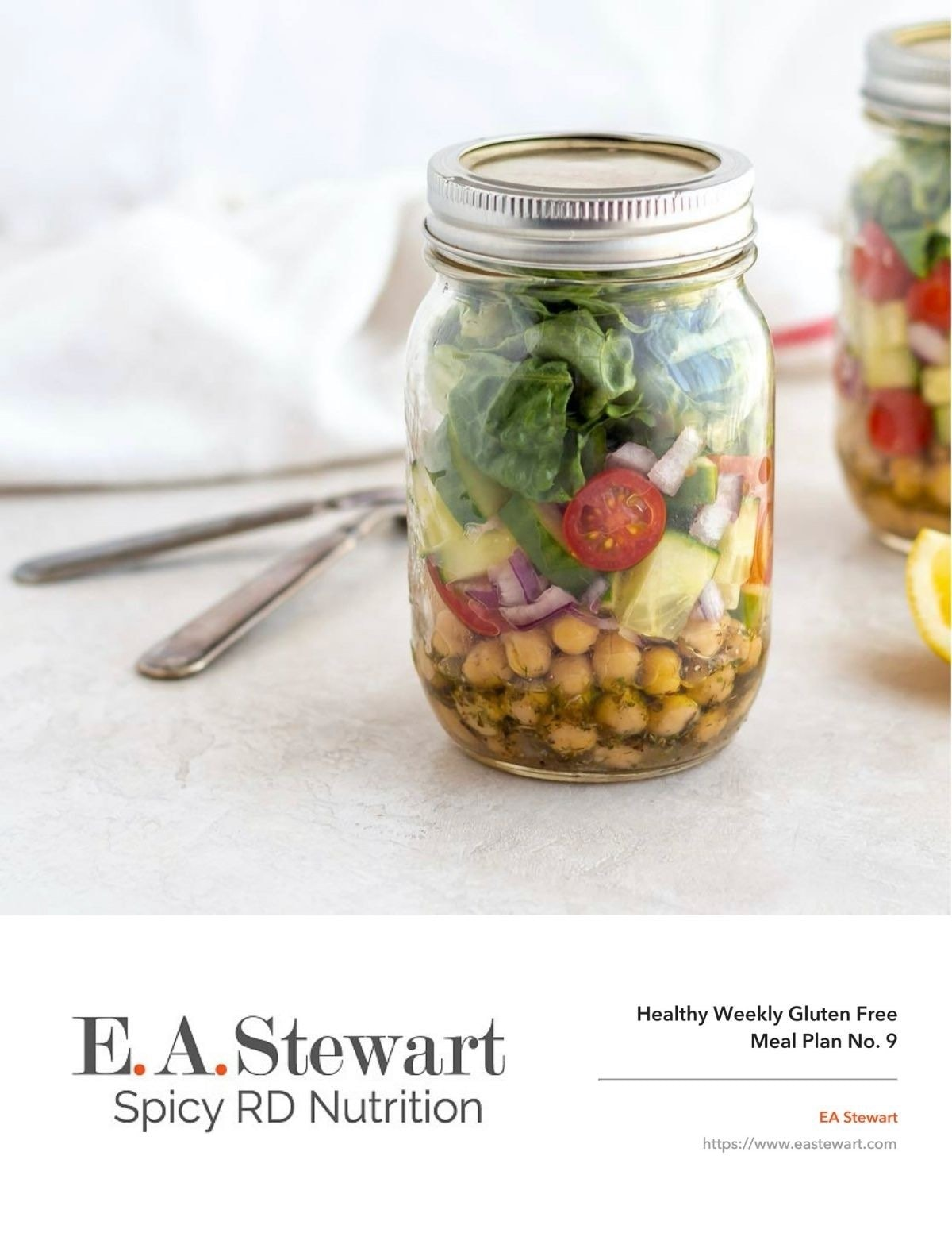 Meal Plan cover image with a ohoto of a Mason Jar Green Salad on a white background with text overlay: Healthy Weekly Meal Plan No. 9