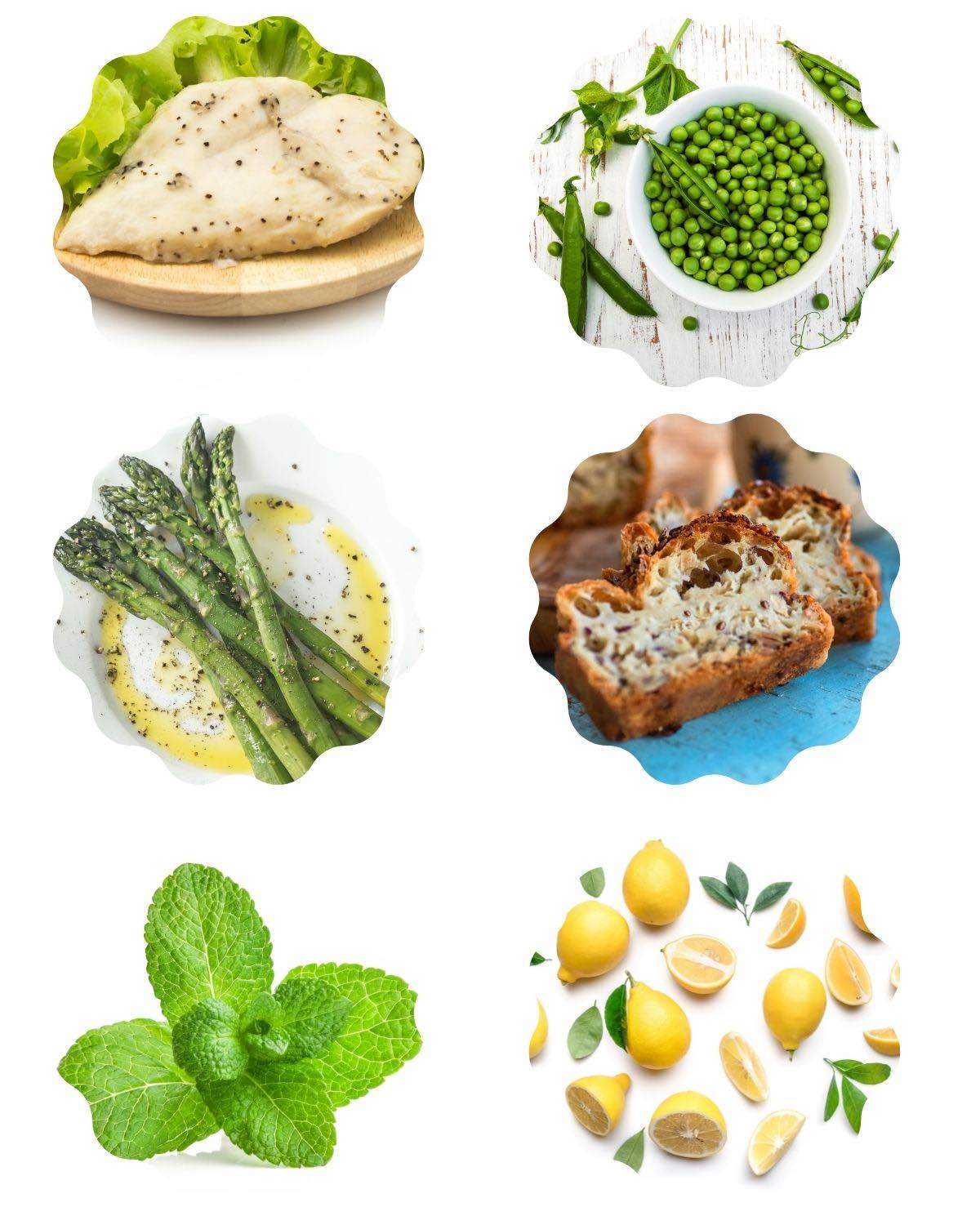 Graphic with 6 photos of ingredients to make chicken and peas: chicken, peas, asparagus, gluten free bread, lemon, and mint.