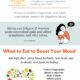 The gut brain axis infographic with sections on stress reduction and what to eat to boost your mood.