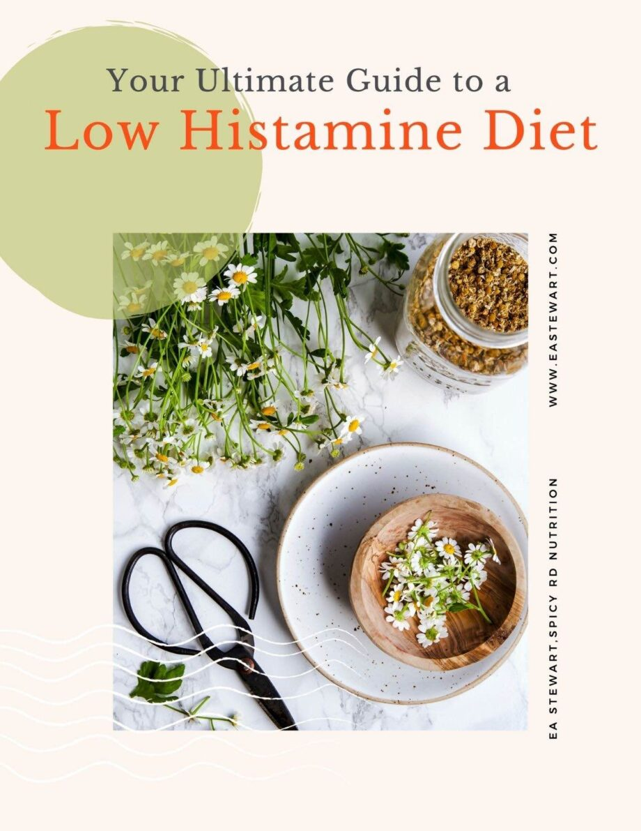Ebook cover for the low histmine diet featuring chamomile flowers and a tea cup.