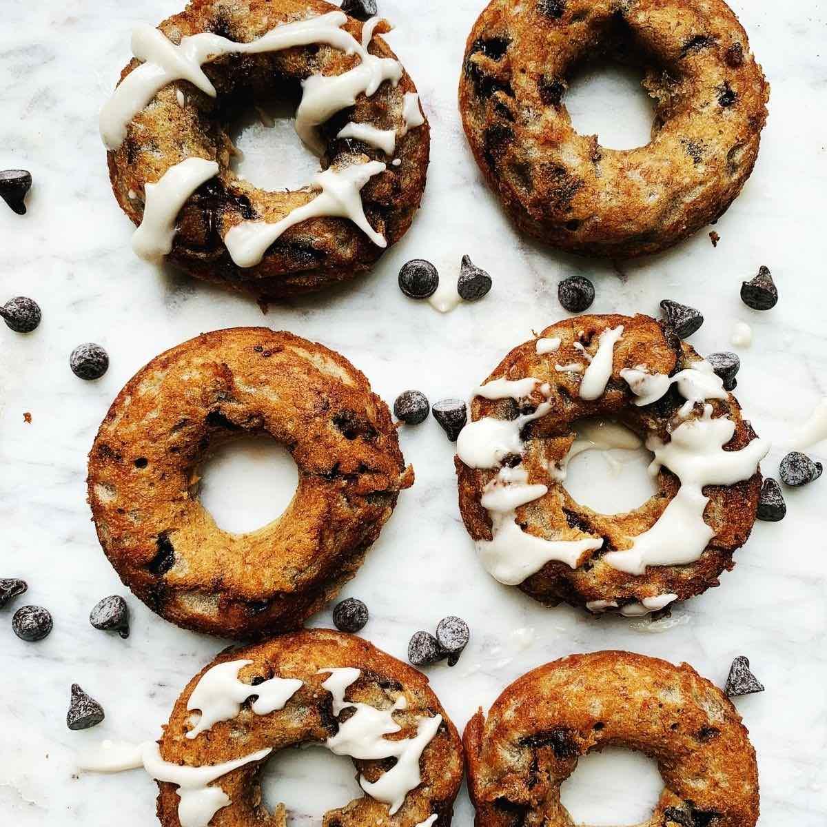 Healthy Banana Doughnuts with Chocolate Chips