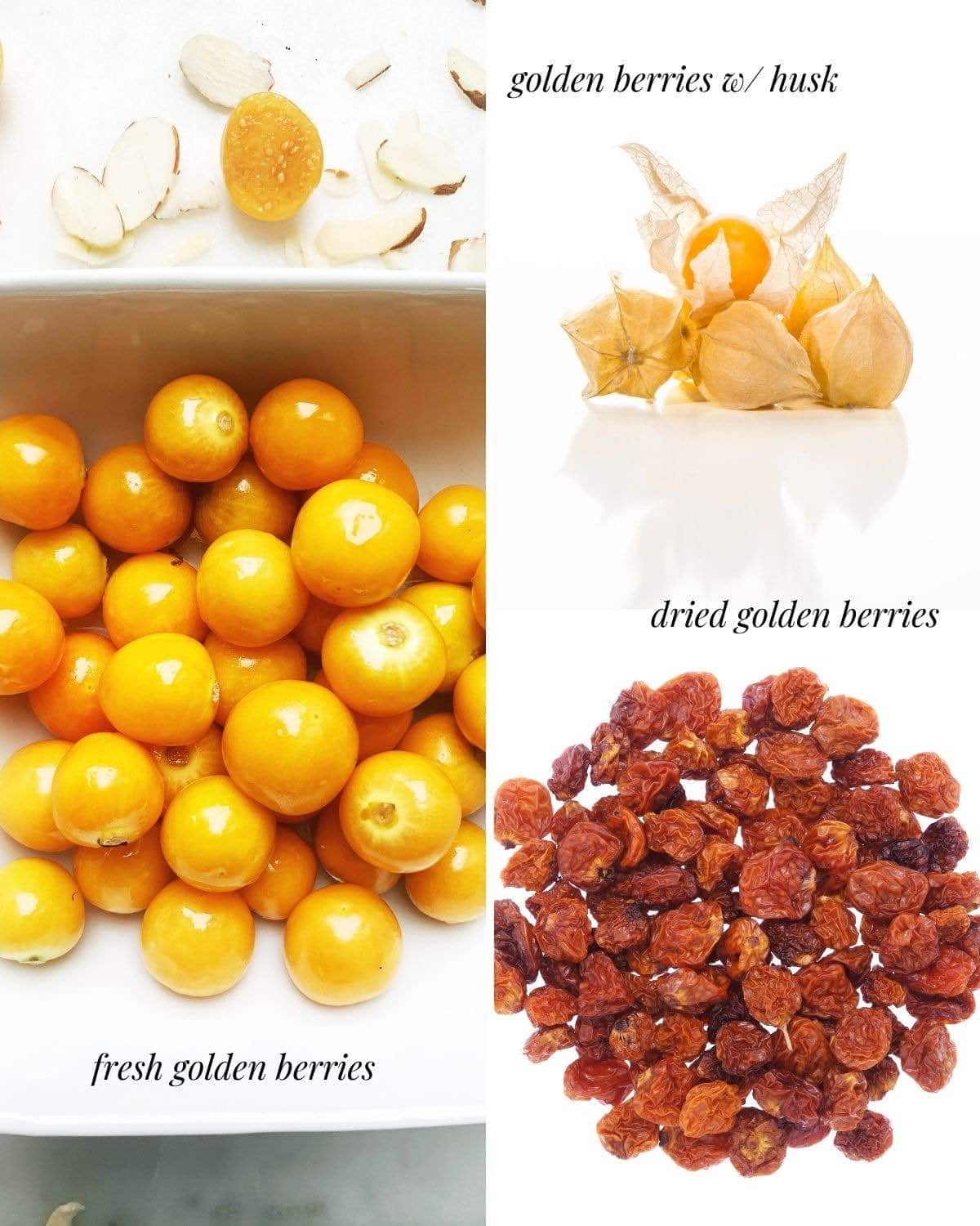 Photo collage with 3 photos: fresh golden berries, dried berries, and berries w/ paper husk.