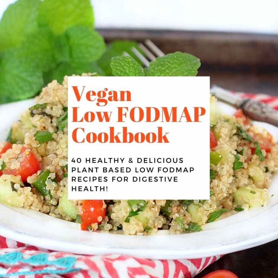 White plate with quinoa salad on top and text overlay: Vegan Low FODMAP Cookbook