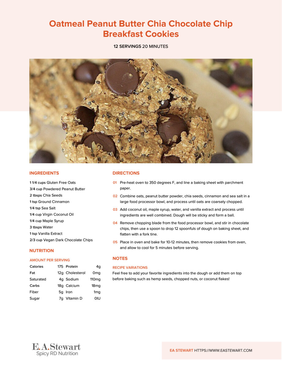 Stack of peanut butter chocolate chip cookies on a recipe page.