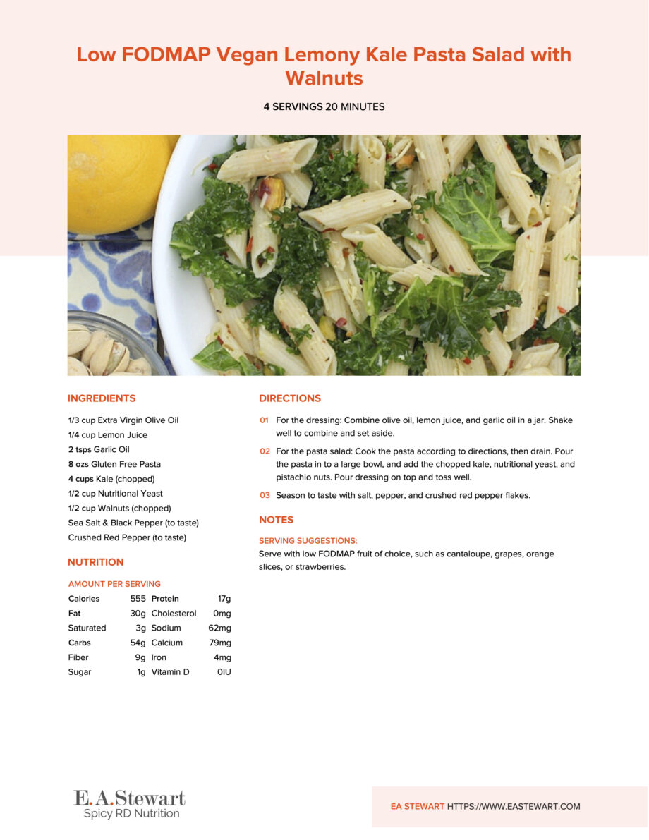 Recipe page with a photo of kale pasta salad in a white bowl.