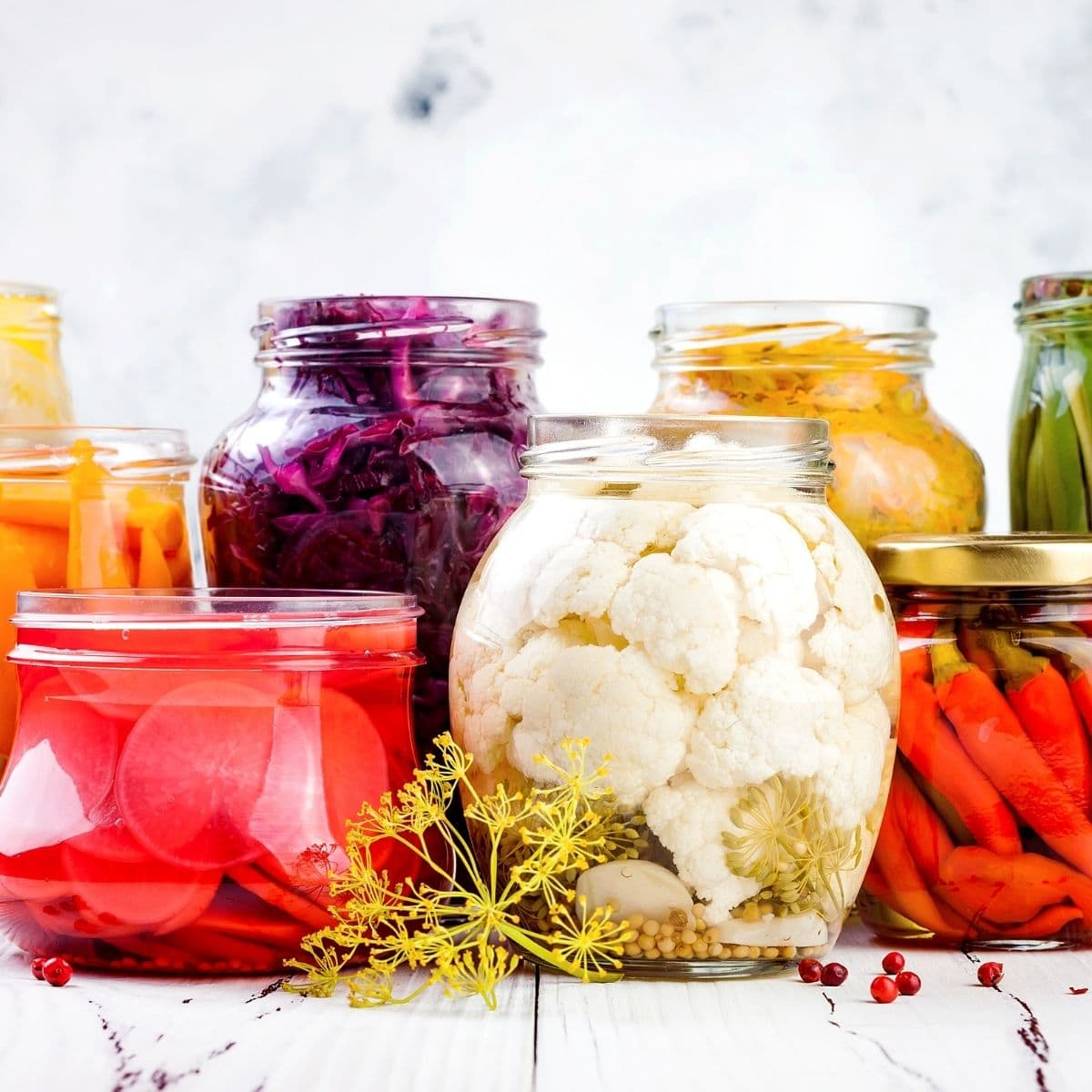 Jars of colorful fermented foods.
