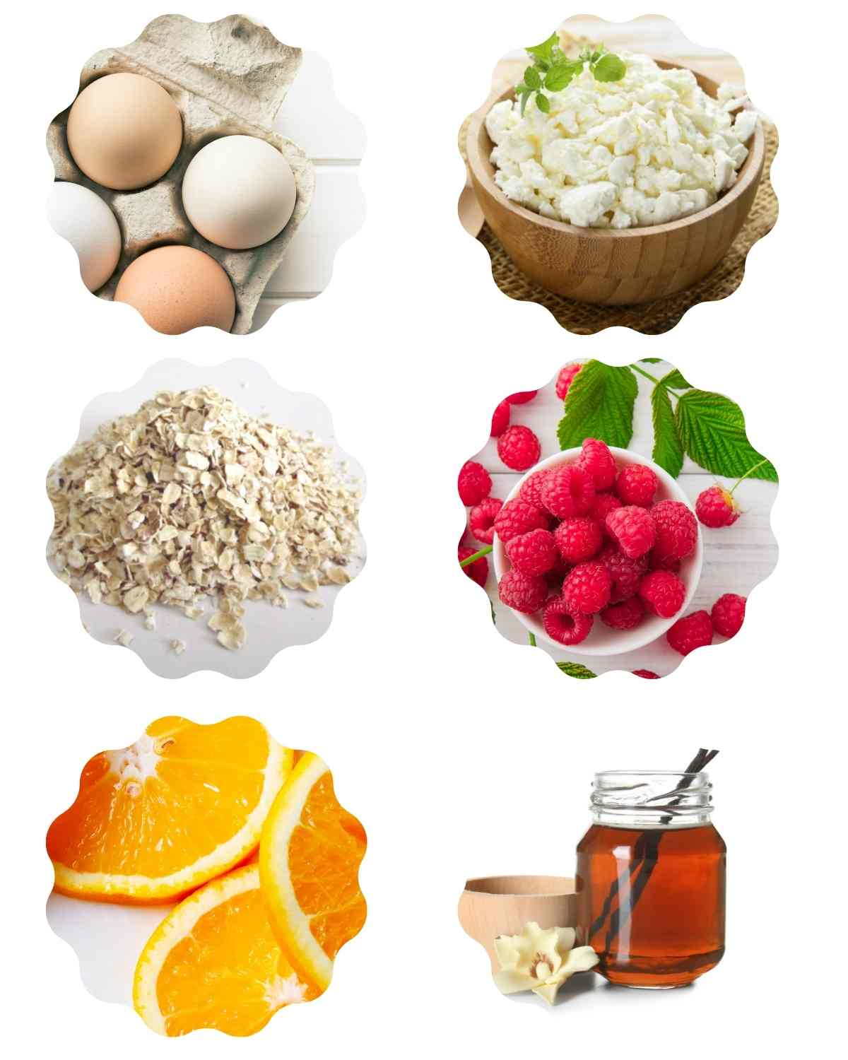 Ingredients for making gluten free protein pancakes including eggs, cottage cheese, oats, orange, raspberries, and vanila.
